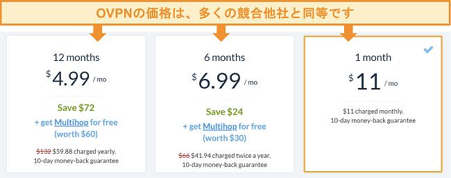 OVPNの価格設定オプションのスクリーンショット