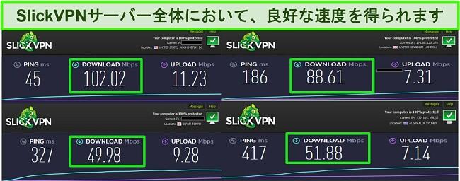 SlickVPNサーバーに接続している間の4つの異なる速度テストのスクリーンショット