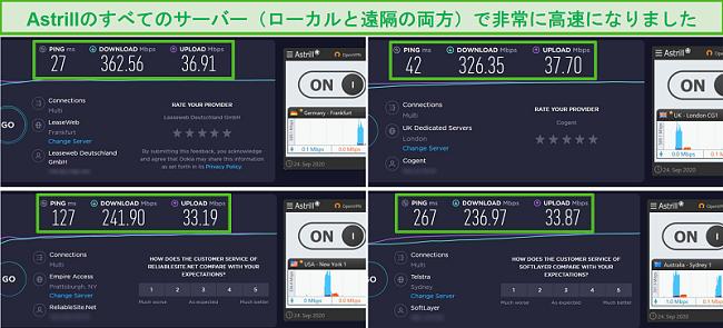 Astrillのフランクフルト、ロンドン、ニューヨーク、シドニーのサーバーを使用した4つの速度テストのスクリーンショット。