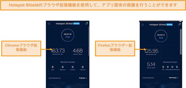 ChromeおよびFirefox用のHotspotShieldのブラウザ拡張機能のスクリーンショット。