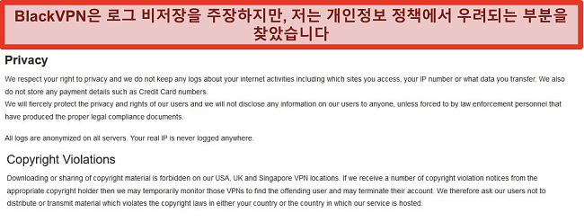 BlackVPN 서비스 약관의 개인 정보 보호 및 저작권 위반 섹션 스크린 샷