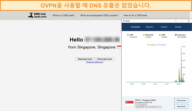 DNS 누출 테스트를 통과 한 OVPN의 스크린 샷