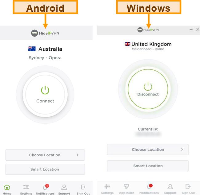 HideIPVPN의 데스크톱 및 모바일 애플리케이션의 스크린 샷.