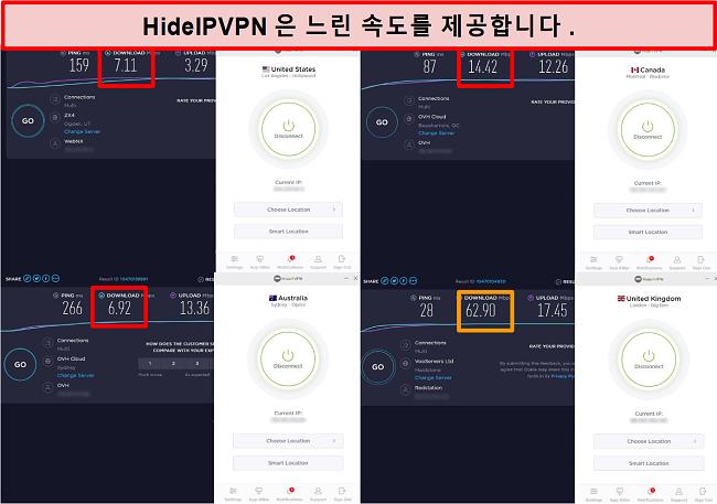 4 개의 서버 위치에서 HideIPVPN 속도 테스트의 스크린 샷.