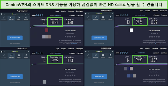 CactusVPN의 스마트 DNS 서버에 연결된 동안 4 개의 속도 테스트 스크린 샷