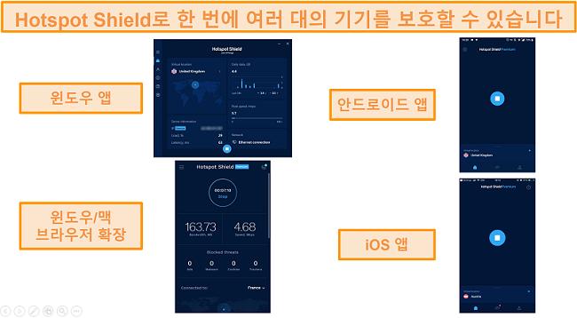 Windows, Android, Mac 및 iOS에서 Hotspot Shield 앱의 스크린 샷.