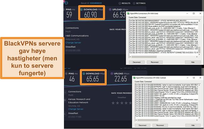 Skjermbilde av to hastighetstester mens du er koblet til BlackVPN-servere i USA