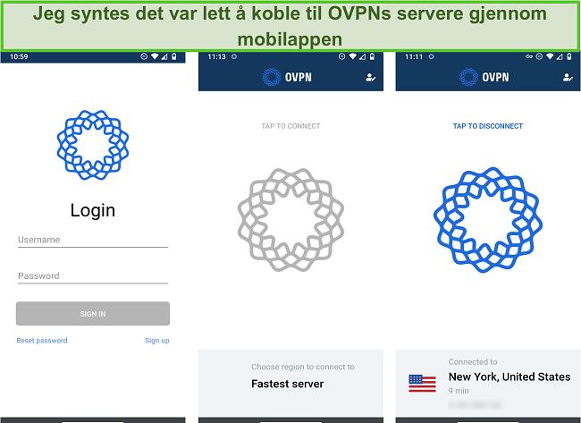 Skjermbilde av OVPNs påloggingsprosess på mobil