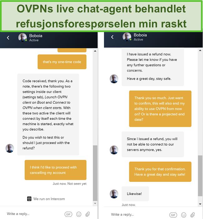 Skjermbilde av en vellykket refusjonsforespørsel gjennom OVPNs live chat