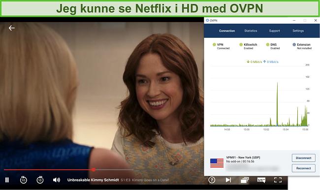 Skjermbilde av OVPN som blokkerer Netflix