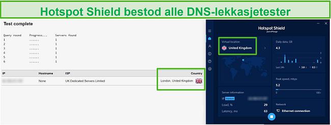Skjermbilde av Hotspot Shield som passerer en DNS-test mens den er koblet til en britisk server.