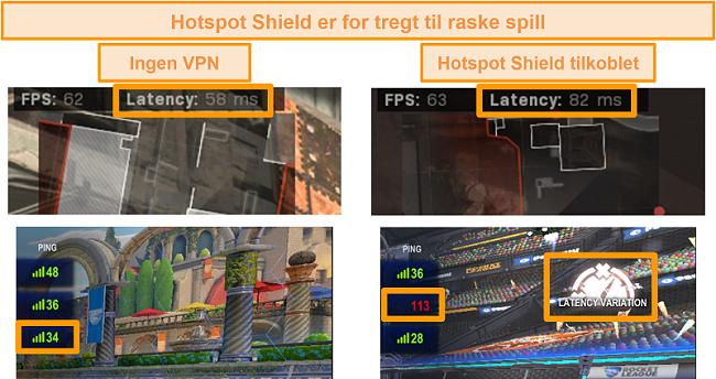 Skjermbilde av Call of Duty: Modern Warfare og Rocket League testet for ventetid øker når den er koblet til Hotspot Shield VPN på PC.