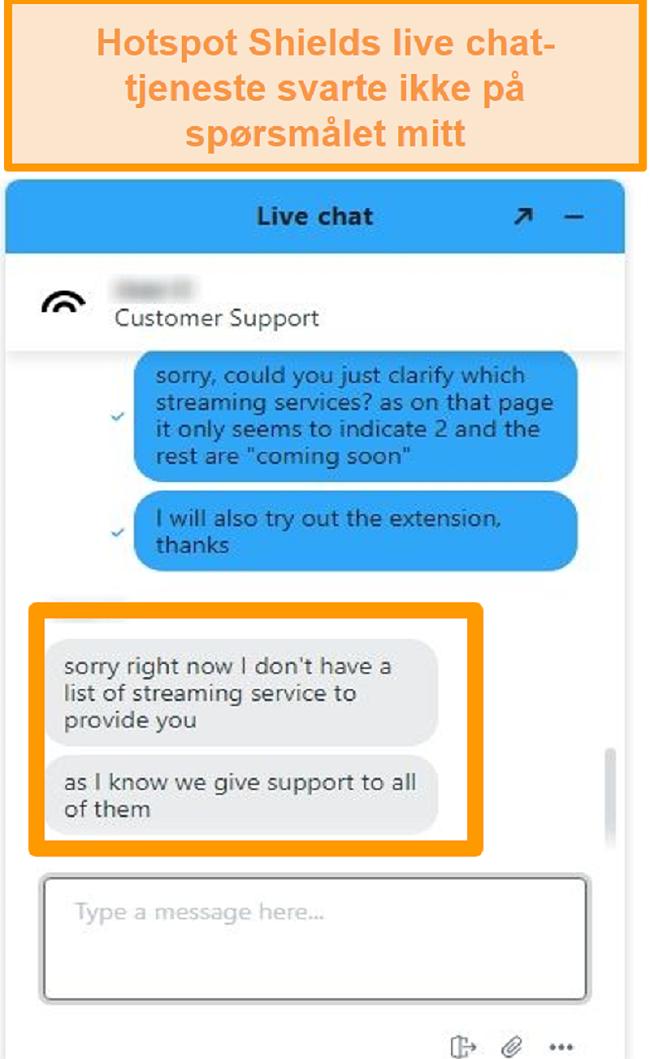 Skjermbilde av en Hotspot Shield live chat-agent som ikke kan svare på spørsmålet mitt
