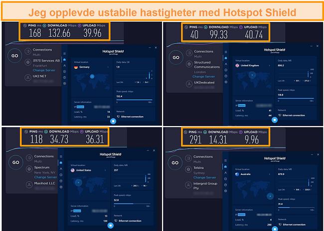 Skjermbilde av hastighetstester fra Hotspot Shield fra Tyskland, Storbritannia, USA og Australia