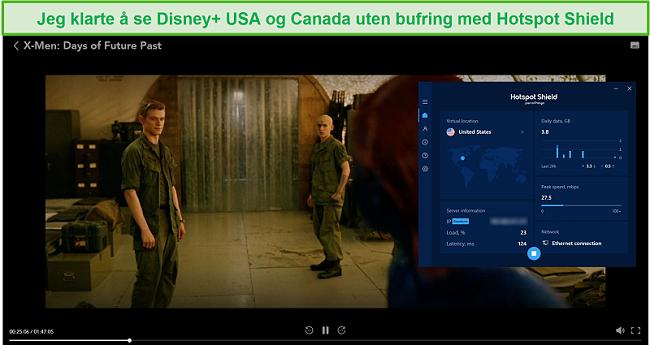 Skjermbilde av Hotspot Shield som blokkerer Disney + og streamer X-Men: Days of Future Past.