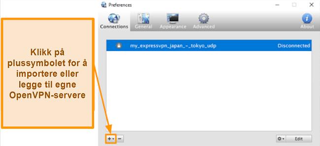 Skjermbilde av Viscosity-appen som viser hvordan du legger til OpenVPN-servere