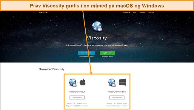 Skjermbilde av nedlastingssiden for Viscosity fra Viscosity-nettstedet