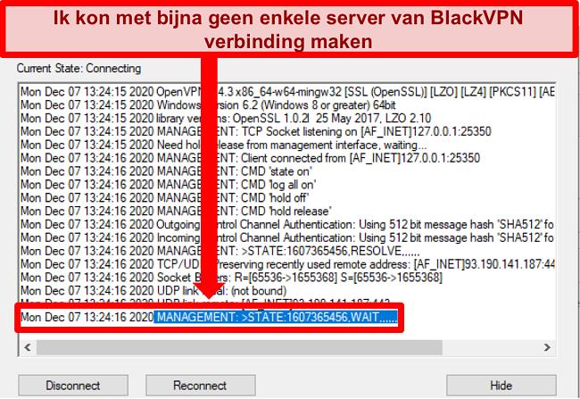 Screenshot van BlackVPN die probeert verbinding te maken met een server via de OpenVPN-client