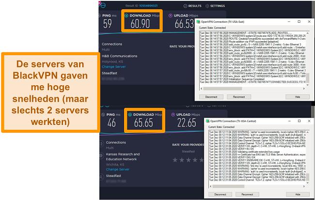 Screenshot van 2 snelheidstests terwijl verbonden met BlackVPN-servers in de VS.