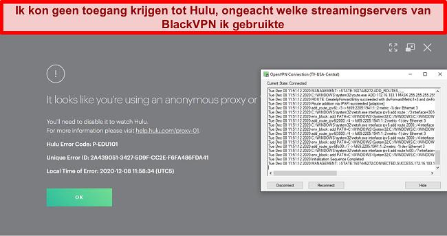 Schermafbeelding van de proxy-IP-fout van Hulu terwijl BlackVPN is verbonden via OpenVPN