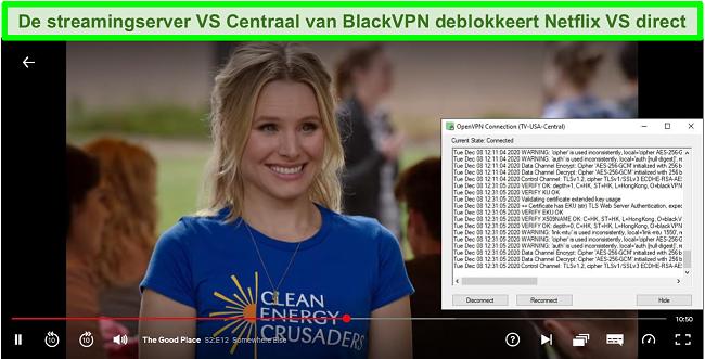 Screenshot van The Good Place op Netflix terwijl BlackVPN is verbonden met de US Central-streamingserver via de OpenVPN-client