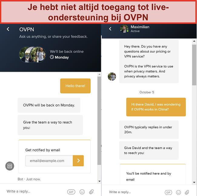 Skærmbillede af begrænset live chat support til OVPN