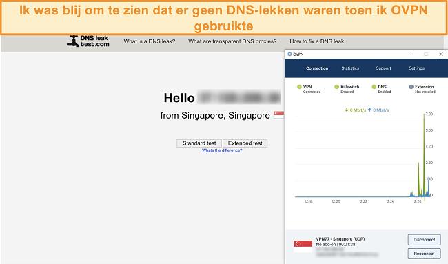 Skærmbillede af OVPN, der bestod en DNS-lækagetest
