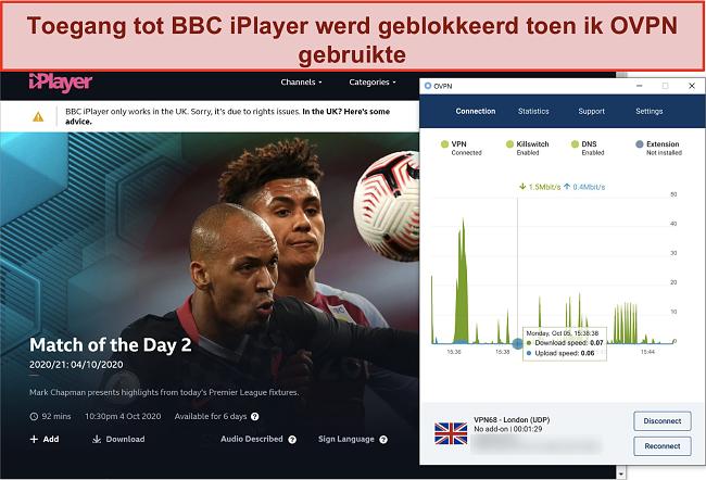 Skærmbillede af OVPN, der bliver blokeret af BBC iPlayer