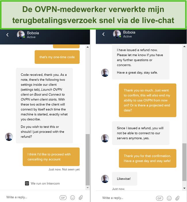 Skærmbillede af en vellykket anmodning om refusion gennem OVPNs live chat