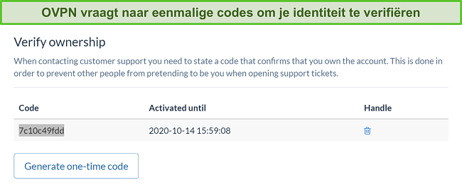 Skærmbillede af OVPNs engangskode til bekræftelse af identitet under annulleringsprocessen for abonnementet