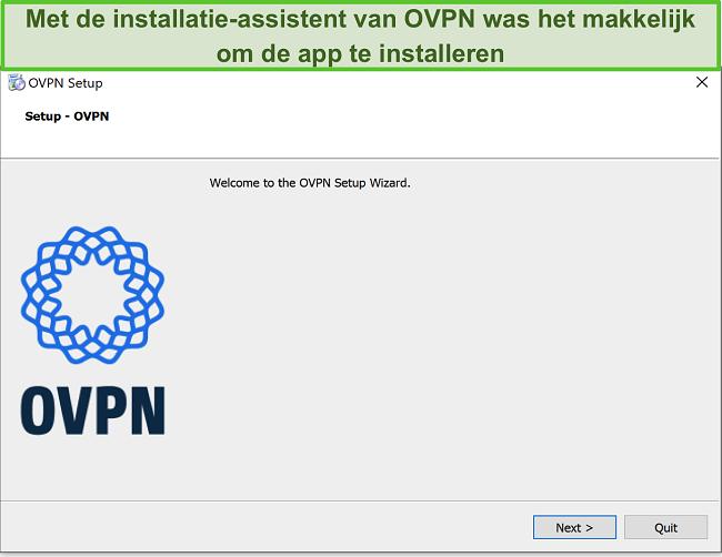 Skærmbillede af OVPN-installationsguiden