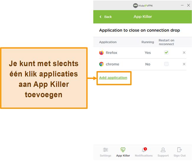 Screenshot van HideIPVPN Application Killer.