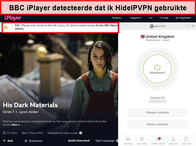 Screenshot van BBC iPlayer-fout die detecteert dat u zich niet in het VK bevindt.