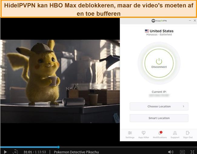 Screenshot van HideIPVPN die HBO Max deblokkeert en Pokemon Detective Pikachu streamt.