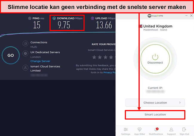 Screenshot van snelheidstest met behulp van Smart Location.