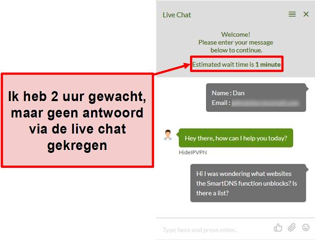 Screenshot van HideIPVPN live chat die niet reageert.