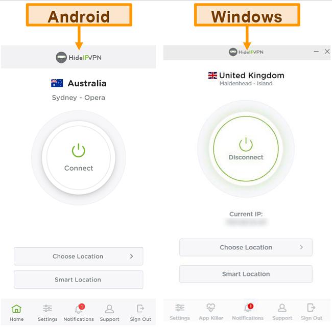 Screenshot van de desktop- en mobiele applicaties van HideIPVPN.