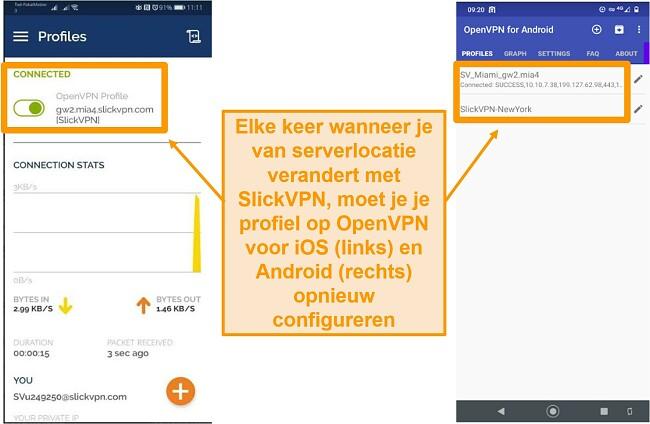 Screenshot van SlickVPN die handmatige configuratie vereist elke keer dat u de serverlocatie op een mobiel apparaat wijzigt