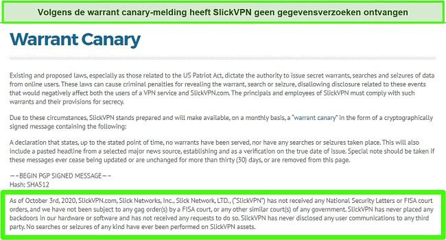 Screenshot van SlickVPN's Warrant Canary-melding