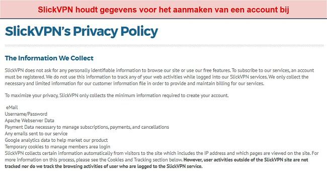 Screenshot van het privacybeleid van SlickVPN