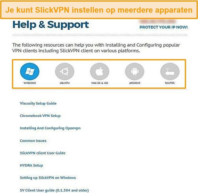 Screenshot van SlickVPN-ondersteuningsgids