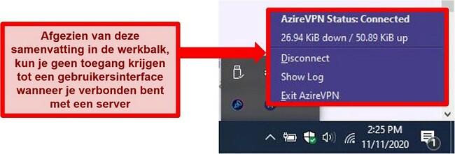Screenshot van Azire's systeemvakstatusmenu
