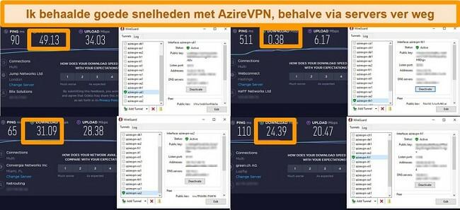 Screenshot van 4 snelheidstests terwijl verbonden met AzireVPN-servers