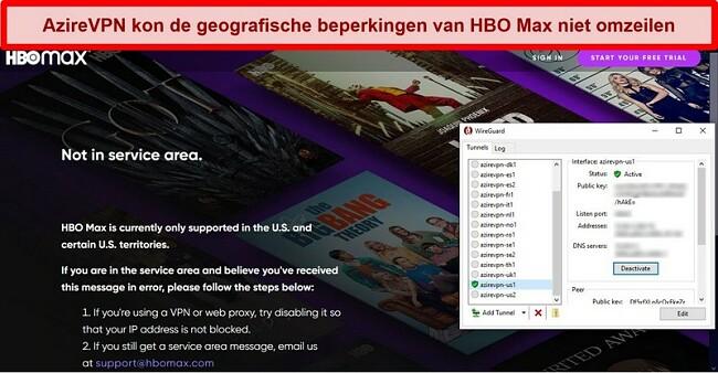 Schermafbeelding van de proxyfout van HBO Max tijdens verbinding met AzireVPN via WireGuard