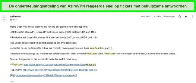 Screenshot van AzireVPN-ondersteuning die reageert op een ticket voor een hulpverzoek