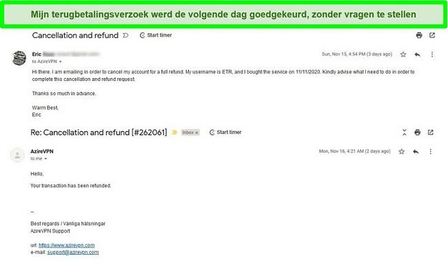 Screenshot van een e-mailthread met het AzireVPN-annulerings- en terugbetalingsproces