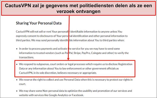 Screenshot van het privacybeleid van CactusVPN dat laat zien dat ze uw gegevens zullen overhandigen