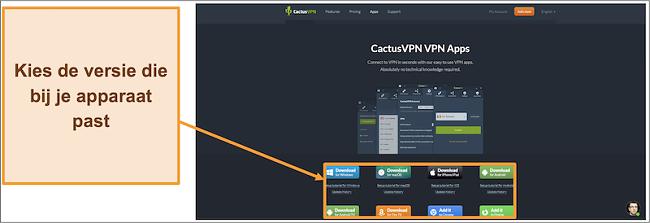 Schermafbeelding die laat zien waar u de gewenste versie van CactusVPN van de website kunt downloaden