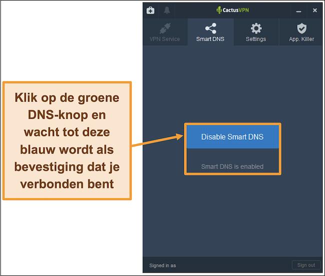 Screenshot van CactusVPN-interface die laat zien hoe de slimme DNS kan worden ingeschakeld
