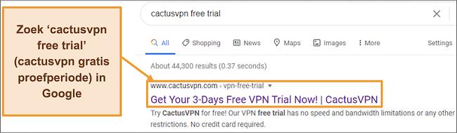 Schermafbeelding die laat zien hoe u de gratis proefversie van CactusVPN op Google kunt vinden
